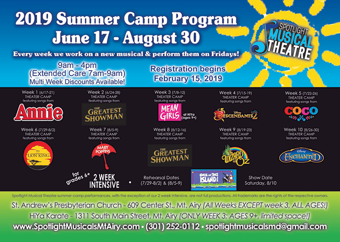 Spotlight Musical 2019 Summer Camp Graphic